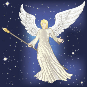 Illustration of angel in front of field of stars