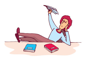 cartoon of bored woman making paper airplanes at desk