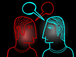 "The ego tries to make you think it, the proverbial ""voice in the head"" is a real entity by interrupting your experience of divine energy. (Illustration of two heads speaking to each other.)"