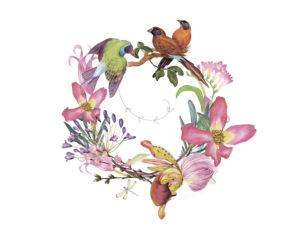 Beautiful drawing of birds and flowers symbolizing love, the heart, and self-acceptance