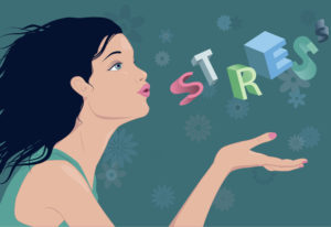 "artwork of woman blowing the word ""stress"" away. Calm, relief from worry, releasing stress, positive attitude."