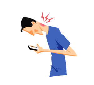 Cartoon of man bent over phone with neck pain. Technology makes us unconscious of our bodies and distracts us from our health.