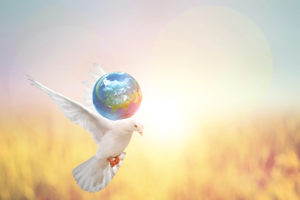 white dove with earth symbolizing world peace collective harmony