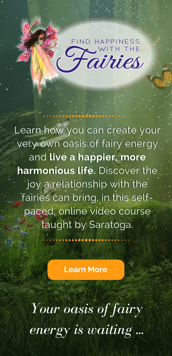 Learn how you can create your very own oasis of fairy energy and live a more harmonious life. Discover the joy a relationship with the fairies can bring, in this self-paced, online video course taught by Saratoga Ocean. Click to learn more!